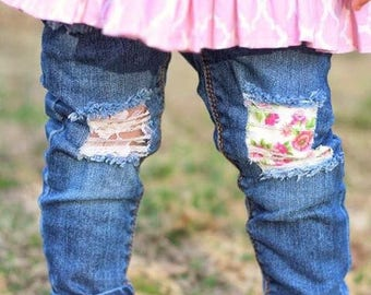 Emery threads, patched jeans, patched floral jeans, distressed jeans, baby girl jeans, toddler jeans, skinny jeans, ripped jeans, floral