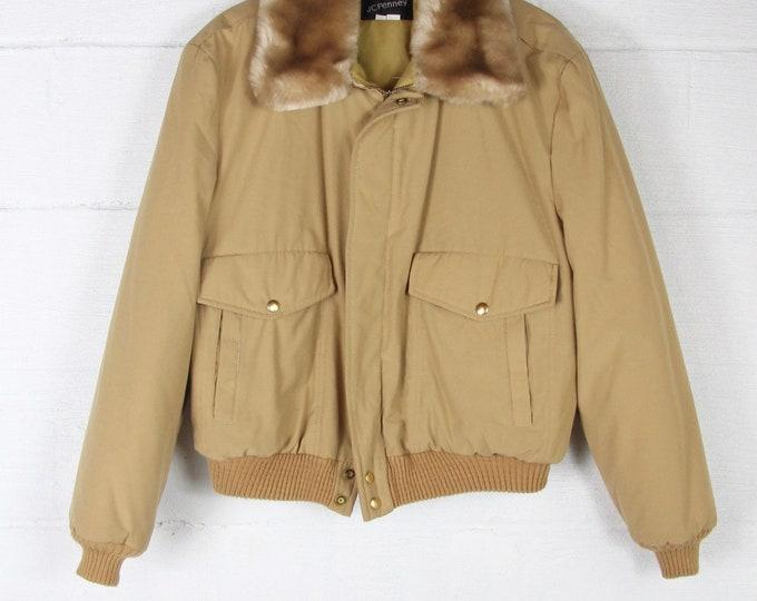 Vintage Bomber Coat Tan Khaki Winter Ski Jacket Puffer Size Medium Large with Faux Fur Collar Winter Coat
