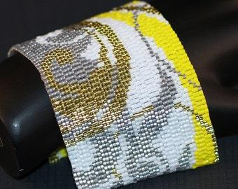 Fanciful ... Peyote Bracelet . Cuff . Wide . Sunny Yellow . Frost Pearl Gray . Gold . Flourish . Feminine . Elegant . Swoops . Swirls