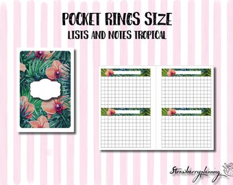 Pocket Rings Size Printable Notes Lists Inserts