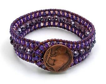 Amethyst Gemstone Cuff Bracelet, 3 Wrap Leather Cuff, Leather Wrap Bracelet, February birthstone, Beaded Bracelet, gift for her
