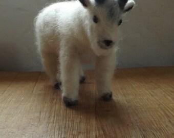Mountain Goat- Sweet needle felted wool cutie.