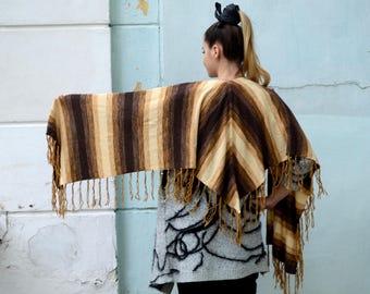 Striped Brown scarf jersey Shawl Women's Neck Scarf striped knitwear, Camel Stripe Scarf, Autumn Winter Scarf
