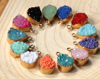 25 pcs Resin Druzy Pendants, (22mm x 13mm) Colourful Druzy Pendants, Drop Druzy Pendants, Druzy Charms, Boho Druzy Necklace Charms