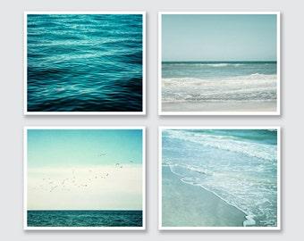 Beach Decor Beach Picture Set of 4 Prints or Canvas Art, Teal Ocean Art Prints Set, Aqua, Turquoise, Seascape, Landscape Print, Sea.