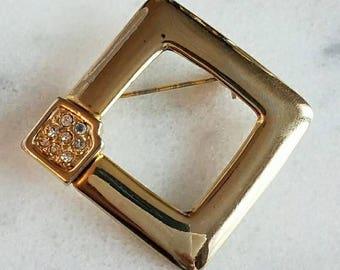 Vintage rhinestone open square brooch gold tone