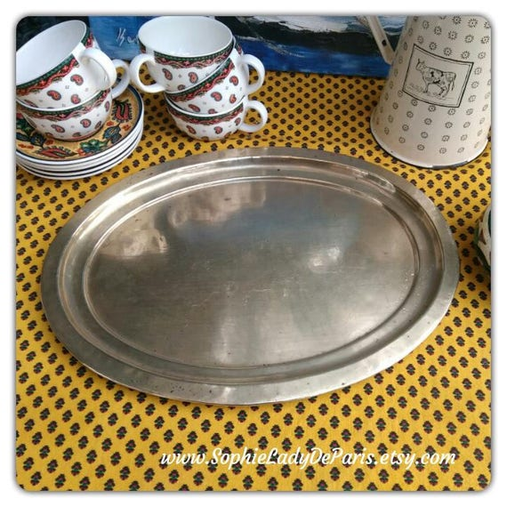 1930's Oval Brass Serving Tray French Handmade #sophieladydeparis