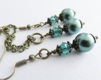Teal Bridesmaid Jewelry Sets, Teal Jewelry, Earrings and Necklace Set, Wedding Jewelry, Bridesmaid Gift, Bridal Jewelry