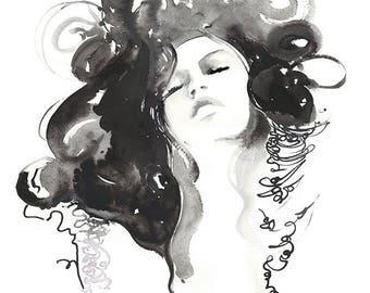 Black and White Fashion Canvas Print,  Ready to Hang,  Fashion Watercolor Print, Fashion Giclee Print, Fashion Illustration Print, Cate Parr