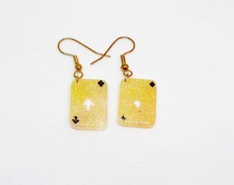 Resin earring yellow playing card