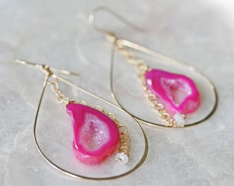Druzy Earrings, Geode Earrings, Pink Druzy Earrings, Hoop Earrings, Hammered Hoop Earrings, Pink Geode Earrings, Moonstone Earrings