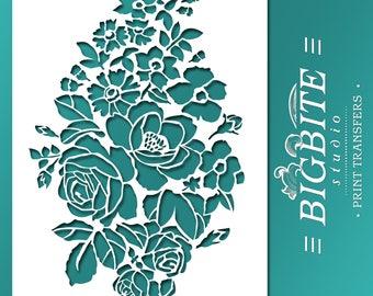 Shabby Chic STENCIL: Wild Flowers Bouquet Floral Ornamental Pattern (Furniture Print Transfer) #047