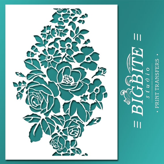 Shabby Chic STENCIL: Wild Flowers Bouquet Floral Ornamental Pattern ( Furniture Print Transfer) #047 From TouchTheWood On Etsy Studio