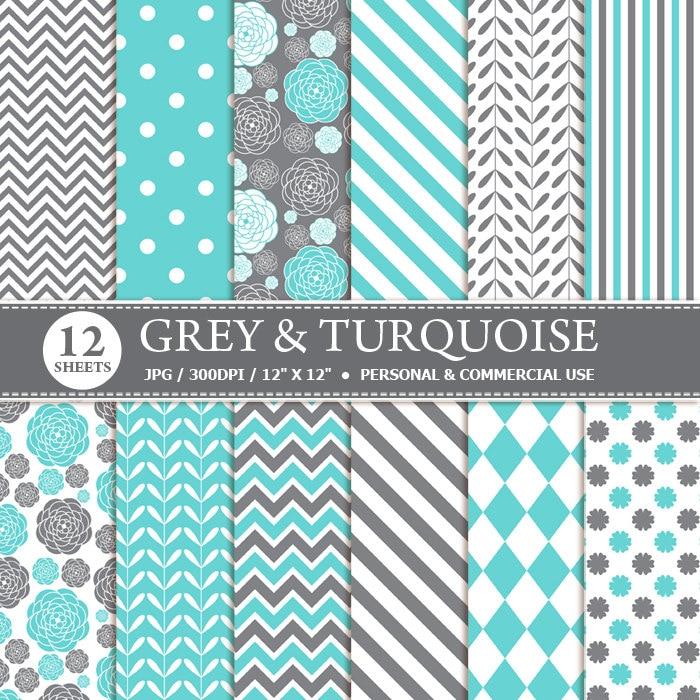 12 Grey Turquoise Digital Scrapbook Paper Digital Paper