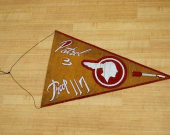 Vintage Folk Art  Boy Scout Troop Banner