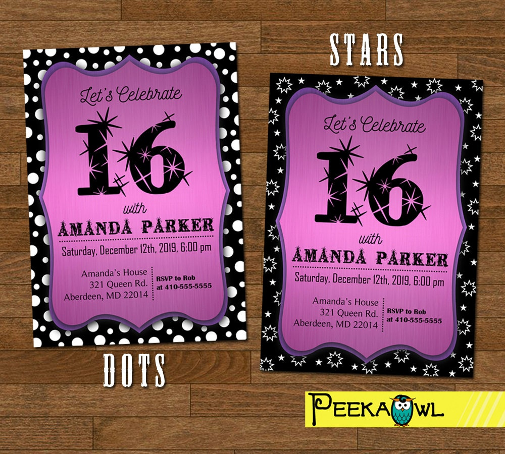 Printable Sweet 16 invitation Sweet sixteen invitations