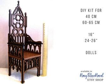 "Gothic ARMCHAIR for 40/60 cm (16""/24"") doll, PRE-ORDER diy doll furniture kit dollhouse furniture laser cut unpainted bjd chair throne"