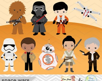 Instant Download Star Wars Clip Art, Digital Star Wars Clipart, Digital Star Wars Clipart, Star Wars Birthday Party Printable 00227