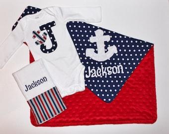 PERSONALIZED Nautical Set - Anchor Minky Blanket, Burp Cloth, Bodysuit - Red Minky