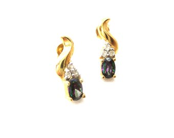 Pair of Vermeil over Sterling Silver 925 Authentic Mystic Topaz & CZ Cubic Zirconia Vintage Stud Earrings