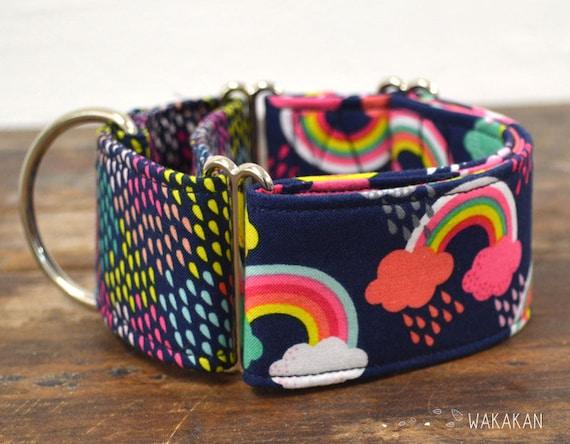 Martingale Rainy Day dog collar adjustable. Handmade with 100% cotton fabric. Rainbow pattern. colorful design. Greyhound Wakakan