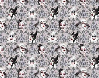 "Disney Villains Fabric, Disney Villains Face Toss, Walt Disney Fabrics, Quilting Cotton, 100% Cotton, 10"" x 11"" Scrap"