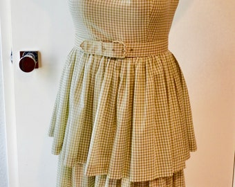 1960s Olive Green Gingham Dress