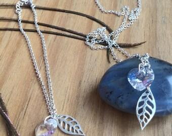 Silver Leaf Necklace and Bracelet with Swarovski Crystal - Sterling Silver