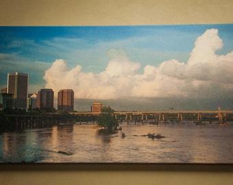 Canvas of Richmond Va Skyline on James River 16x30 Panoramic, Richmond Virginia Landscape Photo Art, Canvas Photography Option