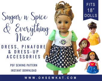 Doll Clothes Sewing Pattern for 18 inch doll clothes - Princess Dress Up Bundle  Sugar n spice dress & dress up accessory pattern doll dress