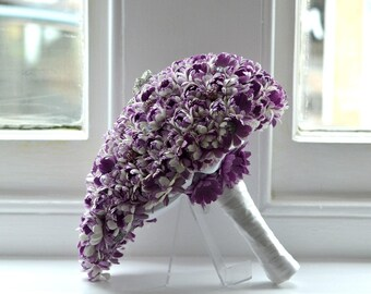 Keepsake Paper Flower and Buttons Teardrop Wedding Bouquet in Purple with brooch centrepiece. Alternative to Wedding Flowers
