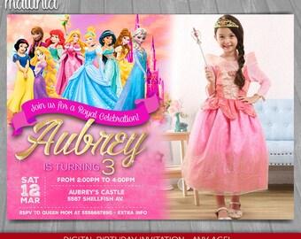 Princess Invitation, Disney Princess Birthday Printed Invitation with photo - Belle Cinderella Ariel Aurora Elsa Jasmine Snow White (PRIN02)