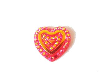 1 x cabochon embellishment resin heart 11mm red AB (iridescent)