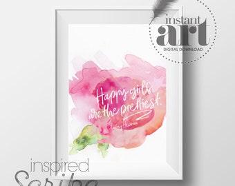 Happy Girls are the Prettiest Audrey Hepburn quote DIGITAL DOWNLOAD