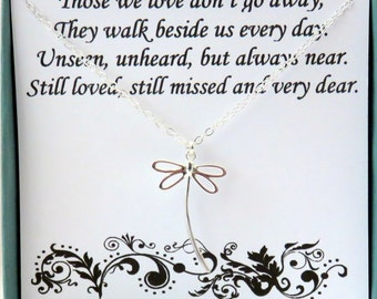Sympathy Gift, Dragonfly, memorial gift, those we love don't go away, sterling silver, in memory of, poem, remembrance, loss of loved one