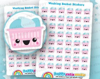 48 Cute Washing Basket/Laundry/Chores Planner Stickers, Filofax, Erin Condren, Happy Planner,  Kawaii, Cute Sticker, UK