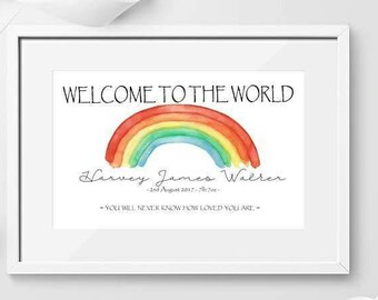 Welcome to the world Print / New Baby Print / Birth Print Gift / Christening Gift / Baby Shower Gift
