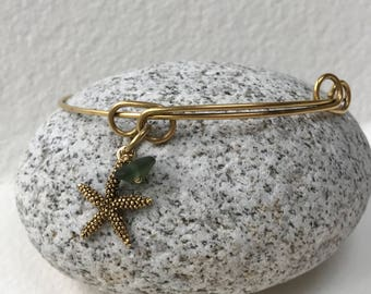Maine Atlantic sea glass starfish adjustable charm bracelet, beach bracelet, bangle bracelet, charm bracelet, beachcomber bangle bracelet