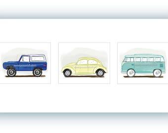 Vintage Transportation prints, Vintage Transportation decor, Truck Art for Boys, Truck Decor, VW Car Decor, VW Bus, Beach Decor