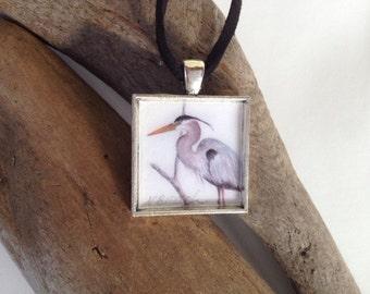 Great Blue Heron Pendant, Handmade with Watercolor Art Print