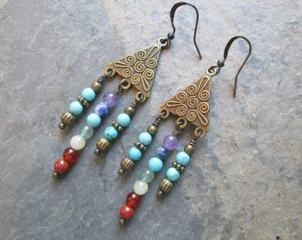 7 Chakra Earrings - Chakra Gemstones - Brass Chandelier Earrings - Chakra / Boho / Metaphysical / Reiki Jewelry