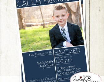 LDS Boy Baptism Invitation, Baptism Invite with Picture, Modern Baptism Invite