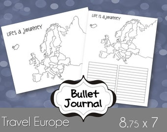 Europe Travels Bullet Journal Printable Pages, for use as an Erin Condren Insert or Happy Planner Size 9x7