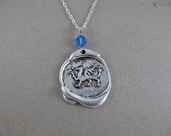 Dragon Wax Seal Charm Necklace - Silver