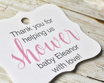 Baby Shower Tag, Gift Tags, Shower With Love, Pink and Blue