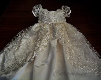 Off White Lace Christening Gown, Baptism, Dedication, 0 - 3 months, 0-3 months, 3-6 months, 6-9 months, 9-12 months, 12-24 months