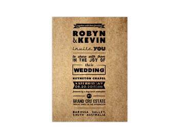 Typo wedding invitation - Invitation and RSVP - Wedding suit - KRAFT envelope - Typograghy Invitation - Typo design- Sample Set