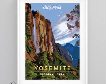 YOSEMITE National Park, CALIFORNIA Vintage Travel Poster, A5/A4/A3 Print