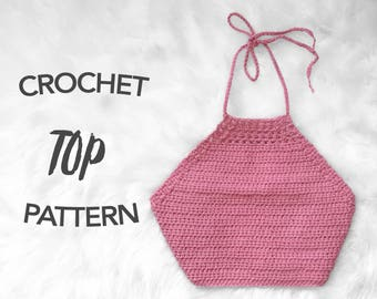 crochet crop top pattern, crochet pattern, crochet halter top pattern, picture tutorial, digital pattern, instant PDF download, SEELEY