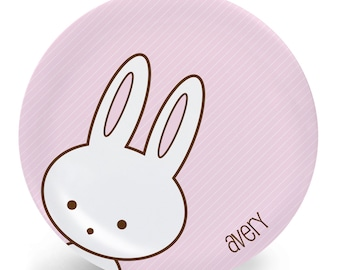 Bunny Plate - Child's Plate - Child's Bowl - Bunny in Colors Melamine Bowl or Plate Custom Personalized with Childs Name
